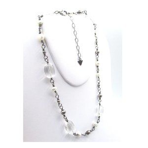 Jewelry - Freshwater Pearl, Clear Quartz & 925 Necklace.
